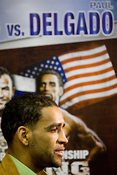 Paul Delgado - The Truth at press conference of boxers IBF World Champion Dejan Zavec - Jan Zaveck (SLO) and Paul Delgado (USA) before their WTC IBF Match, on February 14, 2011 in Ljubljana, Slovenia. (Photo By Vid Ponikvar / Sportida.com)