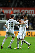 Swansea city's Pablo Hernandez © celebrates with Ben Davies and Ki Sung-Yueng  after he scores his sides equalising goal to make it 1-1. Barclays Premier league, Swansea city v Chelsea at the Liberty Stadium in Swansea, Swansea, South Wales on Saturday 3rd November 2012. pic by Andrew Orchard, Andrew Orchard sports photography,