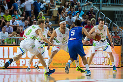 Miha Zupan, Uros Slokar in Jaka Bazic of Slovenia vs Alessandro Gentile of Italy during friendly basketball match between National teams of Slovenia and Italy at day 3 of Adecco Cup 2015, on August 23 in Koper, Slovenia. Photo by Grega Valancic / Sportida