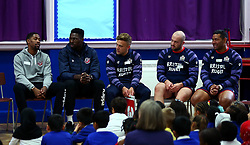 Bristol Sport and Bristol Energy launch their partnership at Millpond School with help from Ian Madigan, Joe Latta and Siale Piutau of Bristol Rugby, Daniel Edozie and Rhondell Goodwin of Bristol Flyers - Mandatory by-line: Robbie Stephenson/JMP - 09/10/2017 - SPORT - Millpond School - Bristol, England - Bristol Sport and Bristol Energy Partnership Launch