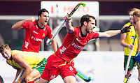 BHUBANESWAR  (INDIA) -   Belgium vs Australia .  day 2 Hero Champions Trophy Hockey.  Florent van Aubel of Belgium has scored 2-3.  Photo KOEN SUYK