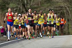 2013 Boston Marathon: lead group of elite runners mile 1, Hartmann, Watson lead
