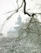 St James Park in the snow, London, UK