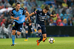 April 28, 2018 - Sydney, NSW, U.S. - SYDNEY, NSW - APRIL 28: Melbourne Victory forward Kosta Barbarouses (9) passes the ball in front of Sydney FC midfielder Joshua Brillante (6) at the A-League Soccer Semi Final Match between Sydney FC and Melbourne Victory on April 28, 2018 at Allianz Stadium in Sydney, Australia. (Photo by Speed Media/Icon Sportswire) (Credit Image: © Speed Media/Icon SMI via ZUMA Press)