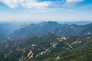 Looking north from Moro Rock and overlooking Highway 198, Sequoia National Park, Tulare County, California, USA.