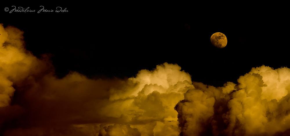 Orange Moon Night with Cloud Panorama County Kerry, Ireland / lg039