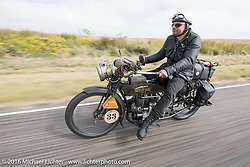 Andy Kaindl of Germany riding his 4-cylinder 1915 Henderson class-2 motorcycle during the Motorcycle Cannonball Race of the Century. Stage-8 from Wichita, KS to Dodge City, KS. USA. Saturday September 17, 2016. Photography ©2016 Michael Lichter.