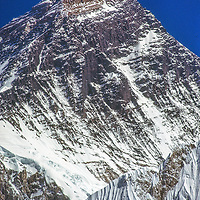 An unusual view of Mount Everest from the Changri La pass in the Khumbu region of Nepal's Himalaya.
