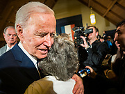 18 JANUARY 2020 - INDIANOLA, IOWA: Former Vice President JOE BIDEN hugs a woman on the rope line after speaking during a campaign event at Simpson College Saturday. About 250 people came to Simpson College to listen to Vice President talk about his reasons for running for President. Iowa hosts the first event of the presidential election cycle. The Iowa Caucuses are Feb. 3, 2020.        PHOTO BY JACK KURTZ