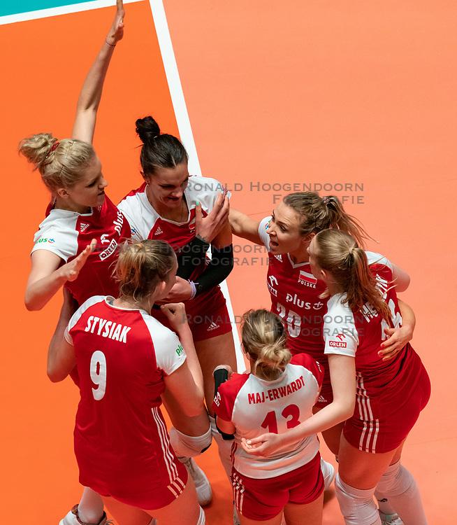 29-05-2019 NED: Volleyball Nations League Poland - Brazil, Apeldoorn<br /> Marlena Plesnierowicz #20 of Poland, Monika Bociek #11 of Poland, Paulina Maj-Erwardt #13 of Poland, Agnieszka Kakolewska C #5 of Poland