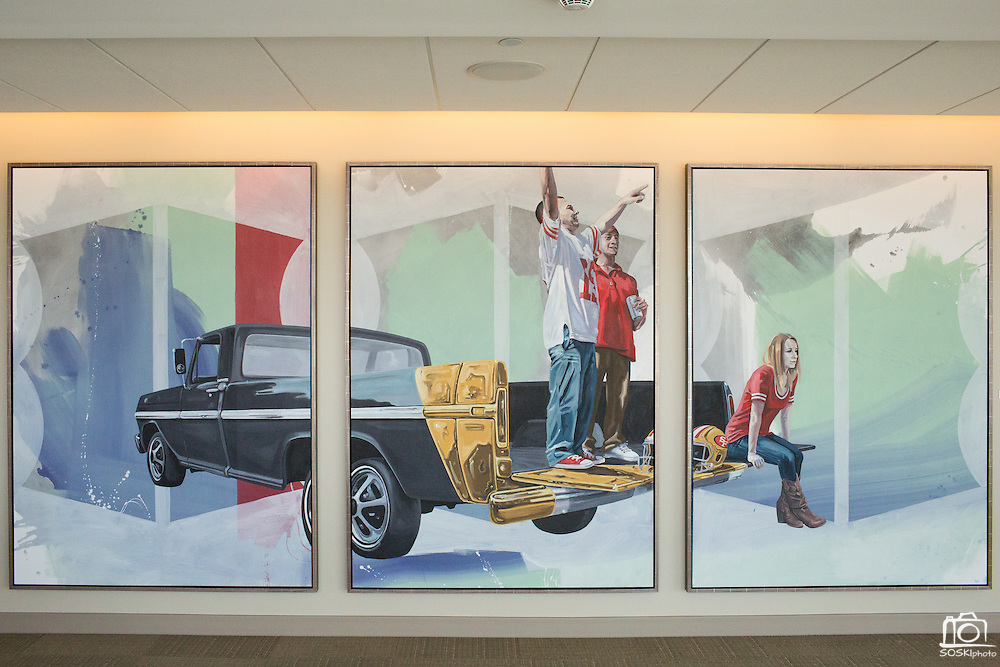 Song & Prayer, a triptych painting by San Jose State University student Ben Alexy is on display during the Levi's Stadium Art Collection grand opening event at Levi's Stadium in Santa Clara, California, on August 1, 2014. (Stan Olszewski/SOSKIphoto for Content Magazine)