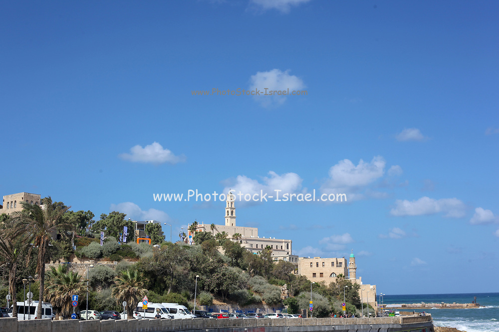 Israel, Old Jaffa as seen from the North.  The entrance to the acient port on the right and the belfry of the Church and Monastery of St Peter in the centre
