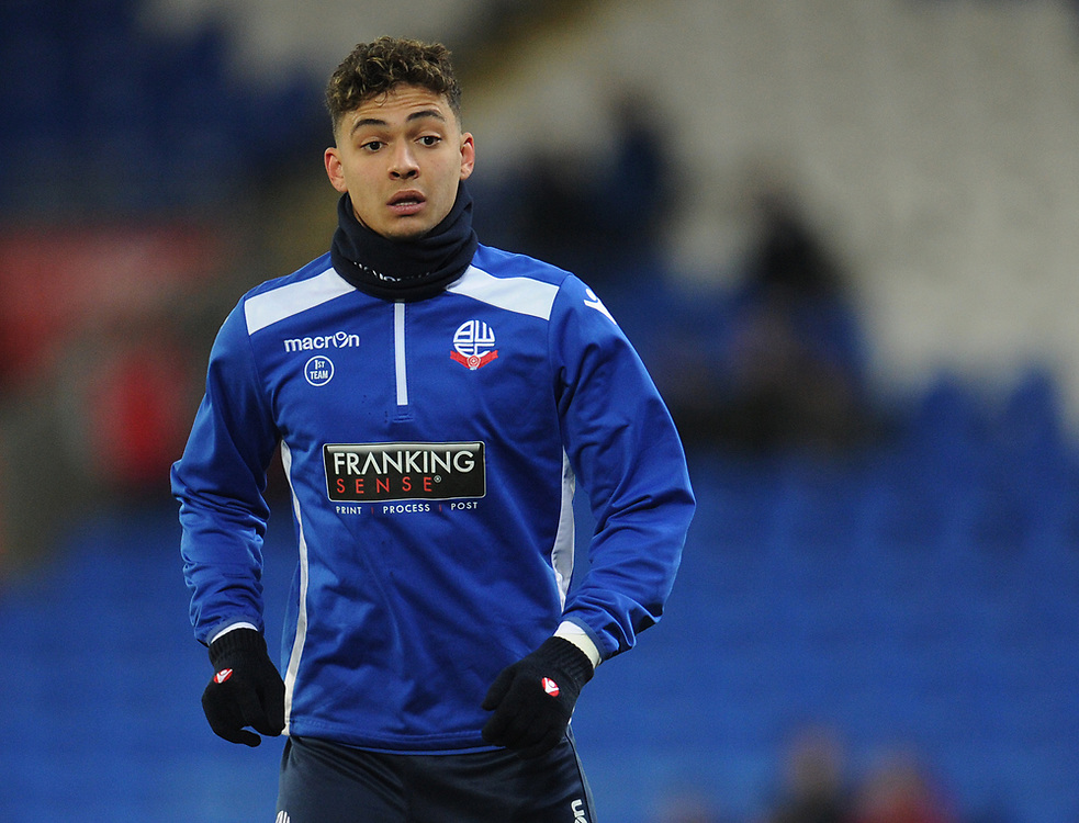 Bolton Wanderers' Tyler Walker during the pre-match warm-up <br /> <br /> Photographer Kevin Barnes/CameraSport<br /> <br /> The EFL Sky Bet Championship - Cardiff City v Bolton Wanderers - Tuesday 13th February 2018 - Cardiff City Stadium - Cardiff<br /> <br /> World Copyright © 2018 CameraSport. All rights reserved. 43 Linden Ave. Countesthorpe. Leicester. England. LE8 5PG - Tel: +44 (0) 116 277 4147 - admin@camerasport.com - www.camerasport.com