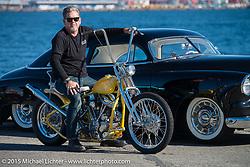 "Big Scott Stopnik with his 1949 HD Panhead ""CYCLE RAY"" before the Mooneyes Yokohama Hot Rod & Custom Show. Yokohama, Japan. December 5, 2015.  Photography ©2015 Michael Lichter."