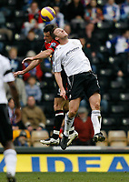 Photo: Steve Bond/Sportsbeat Images.<br />Derby County v Blackburn Rovers. The FA Barclays Premiership. 30/12/2007. Steve Howard (front) attempts to outjump Ryan Nelson (back)