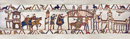 11the Century Medieval Bayeux Tapestry -Scene 24 - Harold sails back to England from Normandy. Scene 25 - Harold reports to Edward the Confessor on his visit to Normandy. .<br /> <br /> If you prefer you can also buy from our ALAMY PHOTO LIBRARY  Collection visit : https://www.alamy.com/portfolio/paul-williams-funkystock/bayeux-tapestry-medieval-art.html  if you know the scene number you want enter BXY followed bt the scene no into the SEARCH WITHIN GALLERY box  i.e BYX 22 for scene 22)<br /> <br />  Visit our MEDIEVAL ART PHOTO COLLECTIONS for more   photos  to download or buy as prints https://funkystock.photoshelter.com/gallery-collection/Medieval-Middle-Ages-Art-Artefacts-Antiquities-Pictures-Images-of/C0000YpKXiAHnG2k