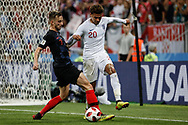 Ivan Rakitic of Croatia vies with Dele Alli of England during the 2018 FIFA World Cup Russia, semi-final football match between Croatia and England on July 11, 2018 at Luzhniki Stadium in Moscow, Russia - Photo Thiago Bernardes / FramePhoto / ProSportsImages / DPPI