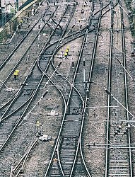 View of railway tracks on approach to Waverley Station in Edinburgh, Scotland, United Kingdom