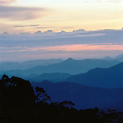 Early morning overlooking tea plantations in the Central Highlands of Sri Lanka