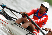 Amsterdam, HOLLAND, CUB W2X , stroke, Maira GONZALEZ BORROTO,  at the start,  at the 2007 FISA World Cup Rd 2 at the Bosbaan Regatta Rowing Course. [Date] [Mandatory Credit: Peter Spurrier/Intersport-images]..... , Rowing Course: Bosbaan Rowing Course, Amsterdam, NETHERLANDS