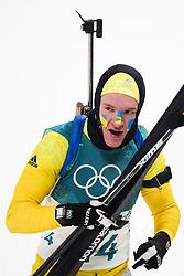 February 12, 2018 - Pyeongchang, SOUTH KOREA - 180212  Sebastian Samuelsson of Sweden, Silver, after the Men's Biathlon 12,5km Pursuit during day three of the 2018 Winter Olympics on February 12, 2018 in Pyeongchang..Photo: Jon Olav Nesvold / BILDBYRÃ…N / kod JE / 160157 (Credit Image: © Jon Olav Nesvold/Bildbyran via ZUMA Press)