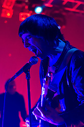 © Licensed to London News Pictures. 06/05/2012. London, UK. The Cribs play live at KOKO, headlining the Sunday night final evening of two day music festival The Camden Crawl.  The Cribs are an English three-piece indie rock band originally from Wakefield, West Yorkshire. The band consists of twins Gary and Ryan Jarman and their younger brother Ross Jarman.  They are due to release their fifth studio album in May 2012.  Photo credit : Richard Isaac/LNP