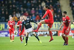 Falkirk's Rory Boulding and Rangers Bilel Moshsni. Falkirk 1 v 1 Rangers, Scottish Championship game played 27/2/2014 at The Falkirk Stadium .