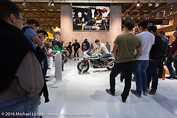 BMW display at the Intermot Motorcycle Trade Fair. Cologne, Germany. Sunday October 9, 2016. Photography ©2016 Michael Lichter.