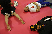 """Igor Svirid, One middleweight world champion from Kazakstan, relaxes before fight<br /><br />MMA. Mixed Martial Arts """"Tigers of Asia"""" cage fighting competition. Top professional male and female fighters from across Asia, Russia, Australia, Malaysia, Japan and the Philippines come together to fight. This tournament takes place in front of a ten thousand strong crowd of supporters in Pelaing Stadium. Kuala Lumpur, Malaysia. October 2015"""