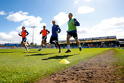 Bristol Rovers players train before Sundays Vanamara Conference Play Off Final match against Grimsby Town at Wembley Stadium for promotion to the Football League 2 - Photo mandatory by-line: Rogan Thomson/JMP - 07966 386802 - 12/05/2015 - SPORT - FOOTBALL - Bristol, England - Memorial Stadium - Bristol Rovers Play Off Final Previews - Vanarama Conference Premier.