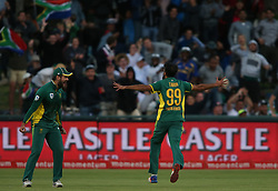 Imran Tahir of South Africa celebrates bowling Australia captain Steve Smith during the 5th ODI match between South Africa and Australia held at Newlands Stadium in Cape Town, South Africa on the 12th October  2016<br /> <br /> Photo by: Shaun Roy/ RealTime Images