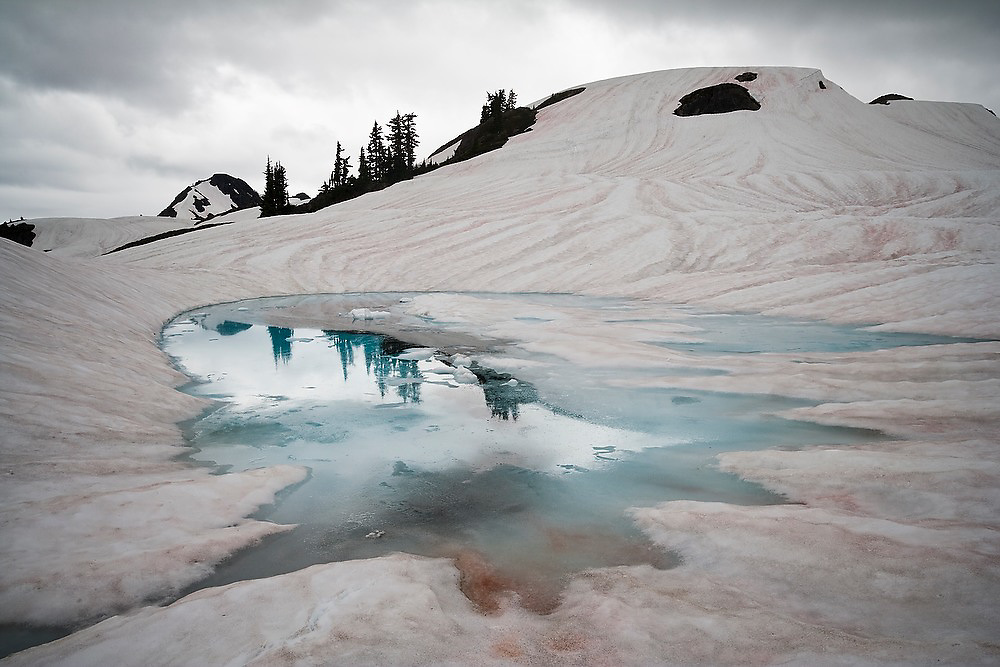 """An alpine lake forms from melting snow below Tomyhoi Peak, Mount Baker Wilderness, Washington. The red coloring, known as """"watermelon"""" snow, is caused by snow algae Chlamydomonas nivalis which contains a carotenoid pigment."""