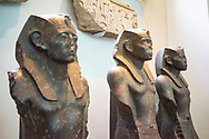 Three black granite statues of Sesostris III. 1850 BC. 12th Dynasty. Middle Kingdom. Temple of Mentuhotep, Deir el-Bahri.