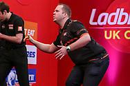 Dirk van Duijvenbode reaction after missing a shot during the Ladbrokes UK Open at Stadium:MK, Milton Keynes, England. UK on 5 March 2021.