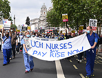 the NHS 73rd Birthday  Protest for NHS pay justice, Patient Safety and an End to Privatisation. The march started at UCH (University College London Hospitals NHS Foundation Trust) and finished in Parliament Square.