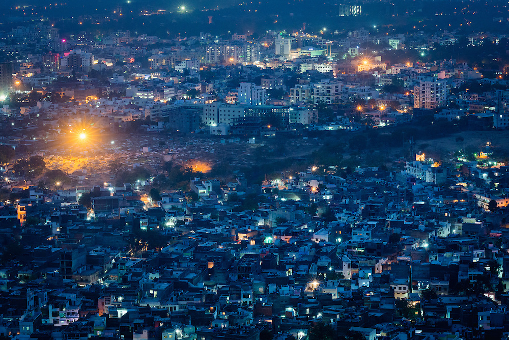 Rooftops of old city of Jaipur at dusk