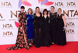 (left to right) Lucy Pargeter, Zoe Henry, Charley Webb, Karen Blick and Tilly Keeper in the Press Room at the National Television Awards 2019 held at the O2 Arena, London. PRESS ASSOCIATION PHOTO. Picture date: Tuesday January 22, 2019. See PA story SHOWBIZ NTAs. Photo credit should read: Ian West/PA Wire