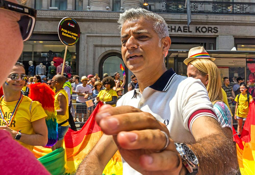 Mayor of London, Sadiq Khan at Gay Pride Parade, London, UK, Saturday 7th July 2018.