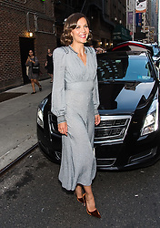 Maggie Gyllenhaal visits The Late Show with Stephen Colbert in New York City. 05 Sep 2017 Pictured: Maggie Gyllenhaal. Photo credit: MEGA TheMegaAgency.com +1 888 505 6342