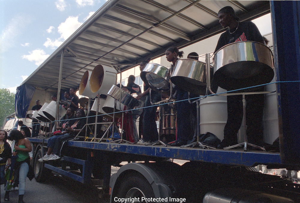 Float at the Notting Hill Carnival with steel band.