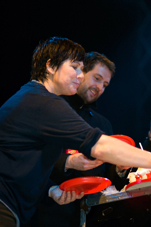 Kim Deal cutting some cake for Barry Hogan at Ten Years of All Tomorrow's Parties. Minehead, December 12 2009.