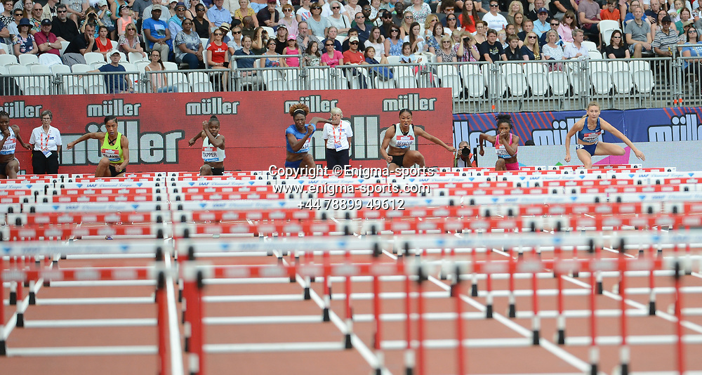 The women's 100m hurdles takes place during the IAAF Diamond League at the Queen Elizabeth Olympic Park London, England on 20 July 2019.