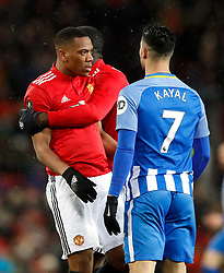 Manchester United's Anthony Martial (left) and Brighton & Hove Albion's Beram Kayal confront each other during the match