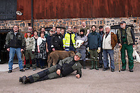 Staff and volunteers at Avesta Visentpark. Transportation of European Bison, or Wisent, from the Avesta Visentpark, in Avesta, Sweden. The animals were then transported to the Armenis area in the Southern Carpathians, Romania. All arranged by Rewilding Europe and WWF Romania, with financial support from The Dutch Postcode Lottery, the  Swedish Postcode Foundation and the Liberty Wildlife Fund.