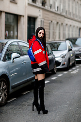 Street style, Rigel Davis arriving at APC Fall-Winter 2018-2019 show held at Rue Madame, in Paris, France, on March 5th, 2018. Photo by Marie-Paola Bertrand-Hillion/ABACAPRESS.COM