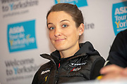 lizzie Deignan during the Eve of tour press conference ahead of the first stage of the Tour de Yorkshire in the Leeds Civic Hall, Leeds, United Kingdom on 1 May 2019.