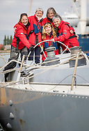 Tracy Edwards MBE and crew reunited with Maiden 27 years after sailing into the history books. Maiden and her all-female crew competed in the Whitbread Round The World Race in 1989/90 winning two legs and coming second overall. Maiden will be restored in Southampton over the next year before sailing around the world as an ambassador for the Maiden Factor, to promote education for girls.<br /> Picture date: Monday April 24, 2017.<br /> Photograph by Christopher Ison © Empics<br /> 07544044177<br /> chris@christopherison.com<br /> www.christopherison.com