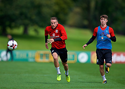 CARDIFF, WALES - Wednesday, August 30, 2017: Wales' Chris Gunter and Ben Woodburn during a training session at the Vale Resort ahead of the 2018 FIFA World Cup Qualifying Group D match against Austria. (Pic by David Rawcliffe/Propaganda)