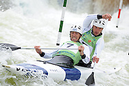 Great Britain's David Florence and Richard Hounslow on their way to winning the C2 (Canoe double) mens final.  ICF Canoe slalom world cup at the Cardiff white water centre in Cardiff, South Wales on Sunday 10th June 2012.  pic by Andrew Orchard, Andrew Orchard sports photography,