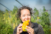 Woman biting into yellow pepper.
